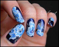 nail art fleur et feuille one stroke