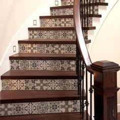 Our Polanka Tile stencil is a great choice for a trendy makeover! Based on traditional Portuguese Azulejos tile designs, this tile stencil is perfect for creating a gorgeous accent wall, kitchen tile backsplash, stenciled staircase, table top or floor! Tiled Staircase, Painted Staircases, Tile Stairs, Staircase Remodel, Staircase Design, House Stairs, Stairs Tiles Design, Patchwork Tiles, Stenciled Floor