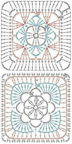Crochet Coaster Pattern, Crochet Motif Patterns, Filet Crochet Charts, Granny Square Crochet Pattern, Crochet Mandala, Crochet Diagram, Crochet Squares, Crochet Patterns Amigurumi, Crochet Granny