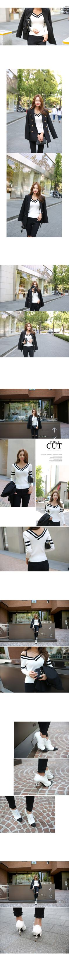 Wide V-Neck Ribbed Knit Top | DABAGIRL, Your Style Maker | Korean clothes, bags&shoes, accessories, cosmetics