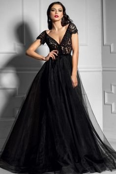 Princess Prom Dresses, 2019 A Line Evening Dresses V Neck Short Sleeves Tulle & Lace Sweep Train, Plus Size Formal Dresses and Plus Size Party Dresses are great for your next special Occassion at cheap affordable prices The Dress Outlet. A Line Evening Dress, Lace Evening Dresses, Black Wedding Dresses, Formal Dresses, Formal Prom, Robes D'occasion, Prom Dresses With Sleeves, Black Gown With Sleeves, Women's Fashion Dresses