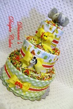 Zoo Animals Jungle Baby Diaper Cake Shower Gift or Centerpiece created by www.diannasdiapercakes.com