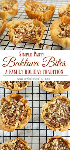 A super quick and easy alternative to traditional baklava recipe. Parties , appetizer , holiday A super quick and easy alternative to traditional baklava recipe. Mini Desserts, Just Desserts, Delicious Desserts, Greek Desserts, Dessert Healthy, Christmas Desserts, Holiday Baking, Christmas Baking, Christmas Snacks