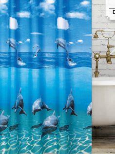 Delfincsalád zuhanyfüggöny Curtains, Shower, Bathroom, Prints, Rain Shower Heads, Washroom, Blinds, Full Bath, Showers