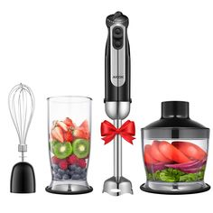 Aicok 4 en 1 Mixeur Plongeant 5 Vitesses 700W Mixeur Plongeur Inox Avec TURBO pour Mixeur Soupe et Blender à Smoothie 800ml, Batteur et Mixeur Hachoir 500ml Sans BPA, Noir: Amazon.fr: Cuisine & Maison