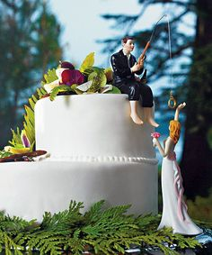 Hooked on Love Fishing Groom Wedding Cake Topper available at Wedding Favors Unlimited http://www.weddingfavorsunlimited.com/hooked_on_love_groom_cake_topper.htm