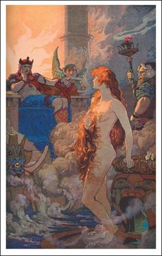 """Ishtar in the Underworld by Ernest Wallcousins Illustration from """"Myths of Babylonia and Assyria"""" by Donald A. Located in a private collection Goddess Of Love, Goddess Art, Wicca, Magick, Epic Of Gilgamesh, Greek And Roman Mythology, Queen Of Heaven, Hades And Persephone, Sumerian"""