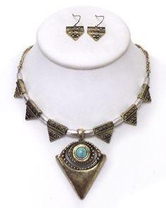 New Tribal Statement Evil Eye Protection Bohemian Necklace Earrings Set JM #Unbranded