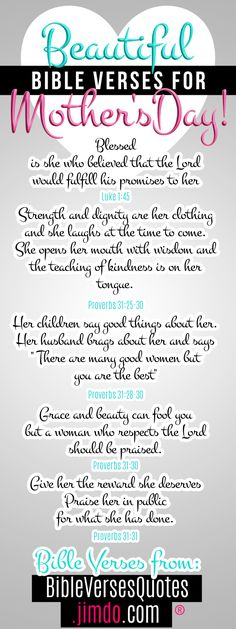 scripture quotes for Mothers Day that can be use for sunday scholl crafts and lessons as well as other crafty projects around Mother's day Happy Bible Verses, Bible Verses About Mothers, Prayer For Mothers, Mothers Day Quotes, Bible Verses Quotes, Words Of Encouragement, Couple Quotes, New Quotes, Happy Quotes