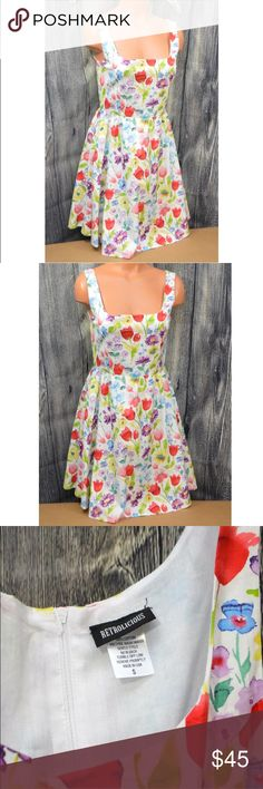Retrolicious SM Floral Flowers Watercolor Spring Retrolicious Size S  Floral Flowers Watercolor Spring  Gently worn, see images for exact item you will receive. Retrolicious Dresses Midi