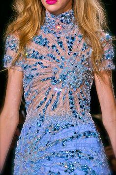 blue, beaded, sheer Giles S/S 2013 fashion week. Runway fashion.