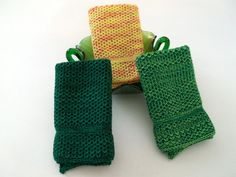 Dish Cloths Knit in Cotton in Greens and by TheNeedleHouse on Etsy