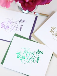 diy stamped thank you cards // great to send out after all the party gifts you receive