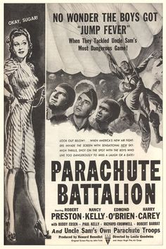 Parachute Battalion Movie Poster Ad From 1941 Good Girl, 1940s Movies, Vintage Movies, War Film, Cinema Film, Old Movie Posters, Film Posters, Vintage Advertisements, Vintage Ads