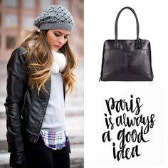 """""""Paris is Always a Good Idea!"""" #paris #fashion #style #ootd #bag #street #hat #beanie #scarf #winter #muts #sjaal #mode #outfit"""