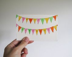 Hand Drawn Happy Birthday Greetings Card // Bunting Flags // One of a Kind Pen & Ink Illustration // Blank
