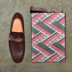 GUCCI PATTERNED: Gucci leather loafers with GG Web and a zip pouch with GG Chevron motifs