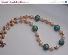 ON SALE Mother of Pearl and Mosaic Turquoise Necklace