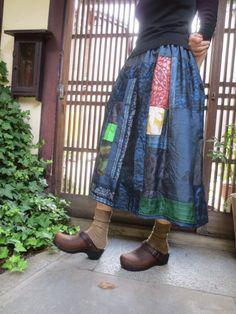 着物リメイク☆大人のお出かけに上品楽しいパッチスカート♪ - 西垣洋子