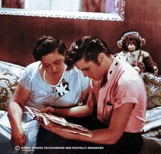 Elvis and his mom (She must have been a wonderful inspiring example of motherhood as Elvis was such a caring & loving person with hopes & dreams that he was able to obtain.)