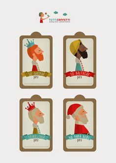 Etiquetas descargables para Navidad : Para Niños Con Cabeza
