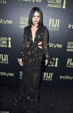 Vanessa Hudgens at Hollywood Foreign Press Association and Instyle Celebration of the 2016 Golden Globe Award Season - seen in Stuart Weitzman. Party Fashion, Boho Fashion, Vanessa Hudgens Style, Black Sequin Dress, Golden Globe Award, Golden Globes, Glamour, Hollywood Celebrities, Female Celebrities