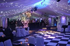 Black and white dance floor for a wedding reception in a marquee with fairy lights across the marquee roof, a mirror ball and colour changing LED uplights White Lead, Black And White, Led Dance, Dance Floors, Mirror Ball, Let's Get Married, Color Changing Led, Wedding Gallery, Fairy Lights