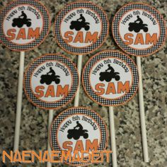 ATV 4 Wheeler Party  Circle Cupcake Toppers by NaeNaeMadeIt, $8.00