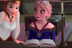 King Jack and Queen Elsa: . Anna Frozen, Frozen Book, Anna Y Elsa, Frozen Fan Art, Disney Princess Frozen, Princess Zelda, Frozen Movie, Disney Adoption, Punk Disney Princesses