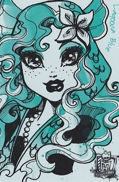 Monster High: Lagoona Blue! Lagoona Blue is the daughter of a Sea Creature. Always laid back and relaxed, she loves swimming and surfing, and usually has good advice for all her friends. Her pet is a piranha named Neptuna.