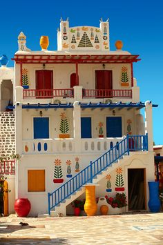 Pictures of Mykonos Island, Greece - Stock Photos Colourful Buildings, Beautiful Buildings, Wonderful Places, Beautiful Places, Places To Travel, Places To Go, Illustration Inspiration, African House, Casas The Sims 4