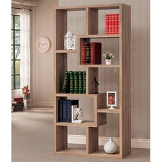 This sleek backless bookcase features an asymmetrical design with staggered shelves in a natural finish. Show off your favorite framed photos or decorative items. Place this storageunit in any room for a refreshing look. Wardrobe Furniture, Cottage Furniture, Home Decor Furniture, Furniture Movers, Modern Furniture, Bookshelf Design, Wall Shelves Design, Bookshelves, Cheap Furniture Stores