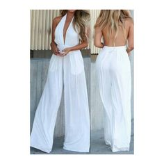 Rotita Halter Neck White Ankle Length Jumpsuit ($23) ❤ liked on Polyvore featuring jumpsuits, white, sleeveless halter top, white jump suit, halter jumpsuit, halter top and sleeveless jumpsuit
