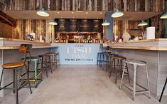 Restaurant & Hospitality Design: Fish Bar by jenna Rustic Cafe, Rustic Restaurant, Rustic Cottage, Rustic Kitchen, Restaurant Design, Restaurant Interiors, Rustic Feel, Rustic Modern, Rustic Style