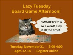 Spend your time off from school in the TEEN ROOM playing board games! We'll have Jenga, Scrabble, Guesstures, Uno, and more!