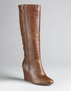 Steven By Steve Madden Brown Meteour Leather Wedge Boots