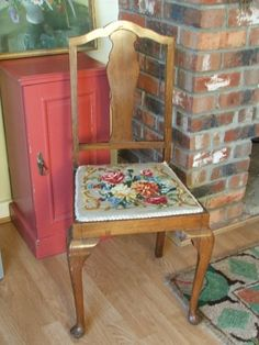 Vintage Floral Tapesty Wooden Chair