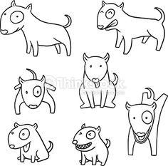 Arte vetorial : vector set of dog, bull terrier