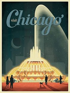 Vintage Buckingham Fountain travel poster by Anderson Design Group at www.windycityprints.com