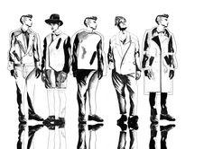 Dummies Graduate Collection Cara Guenther ''Cara Louis'' - Pencil, Polychromos and PSD Fashion Illustration Face, Fashion Illustrations, Preppy Mens Fashion, Mens Fashion Week, Fashion Sketchbook, Fashion Sketches, Fashion Figures, Fashion Art, Fashion Boots