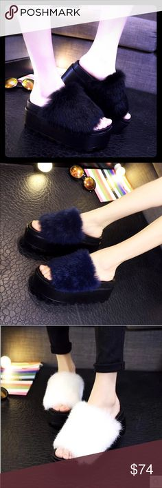 🆕 Plush Rabbit Fur Platform Slippers 🆕 KC Champagne© FALL 2016 GENUINE Rabbit Fur Platform Slippers✨Exclusively Designed, Sewn & Imported from Tokyo, Japan by Shino Mai for KC Champagne© FALL 2016✨Vintage & Classic Playful Furs, Hats & SCARFS in MINK, RACOON, FOX & RABBIT, Tailored, hand made from Genuine PELTS & Leather with SATIN LININGS. ✨Special Order✨ 7-9 days export/import✨ KC CHAMPAGNE Shoes Slippers