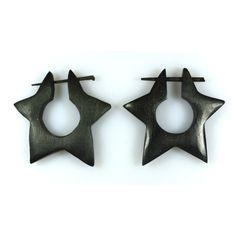 (SKU NO:sew_725) A Pair of Brown Star Shaped Coco Wood Wooden Boho Hippie Earrings, Krishna Mart India