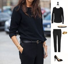 Black classic elegance ✨ Gianvito Rossi black suede stiletto heels pointy toe pumps, Stella McCartney black wool tailored pants, Chloé black leather belt with gold buckle, gold feather bracelet, Sandro heavy knit black wool crew neck sweater. Second hand luxury and designer clothes #luxuryclothes #madeinitaly #madeinfrance #secondhandclothes #buylesschoosewell #depotvente #videdressing #blackchic #elegance