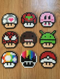 Mario Mushrooms perler beads by CatsandConsoles Perler Beads, Hamma Beads 3d, Perler Bead Mario, Fuse Beads, Perler Bead Designs, Hama Beads Design, Pearler Bead Patterns, Perler Patterns, Quilt Patterns
