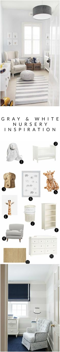 Inspiration Gray and white nursery inspiration.Gray and white nursery inspiration. Nursery Twins, Baby Nursery Themes, Baby Room Decor, Nursery Room, Nursery Ideas, Nursery Decor, Room Ideas, Nursery Modern, White Nursery