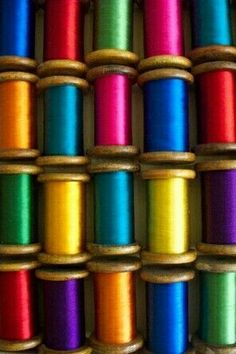 Jewel tones, spools,thread, colorful, primary colors