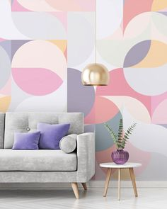 Bring spectacular pattern to your walls with a geometric wallpaper mural from Wallsauce. Featuring stunning pastel pinks, purples and peaches, this beautiful geometric wallpaper is sure to bring an accent to your room. Discover this and more geometric wal