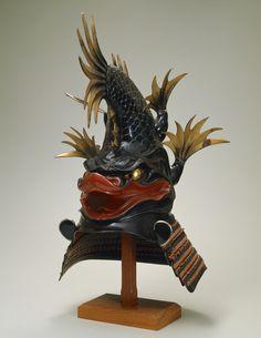 "Shachihoko-shaped Kabuto Samurai helmet, Edo period, century ref. exhibition: ""Art of the Samurai"" Fuji Art Museum in Tokyo. Warrior Helmet, Samurai Helmet, Samurai Weapons, Samurai Armor, Arm Armor, Japanese Warrior, Japanese Sword, Japanese Culture, Japanese Art"