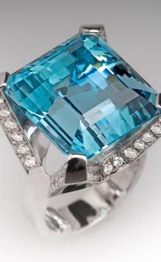 Magnificent 28 carat aquamarine and diamond cocktail ring
