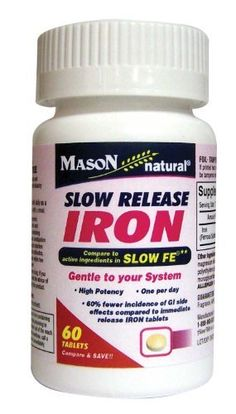 Mason Vitamins Slow Release Iron Compare to The Active Ingredients In Slow Fe, 60 Tablets by Mason Vitamins. $7.50. 60% fewer incidence of GI side effects compared to immediate release iron tablets. Iron that is gental on your system. High potency, one a day only. Slow release iron compare to cative ingredients in slow fe  gental to your system high potency , one per day , 60% fewer incidence of gi side effects compared to immediate release iron tablets. Legal Disclaimer: T...